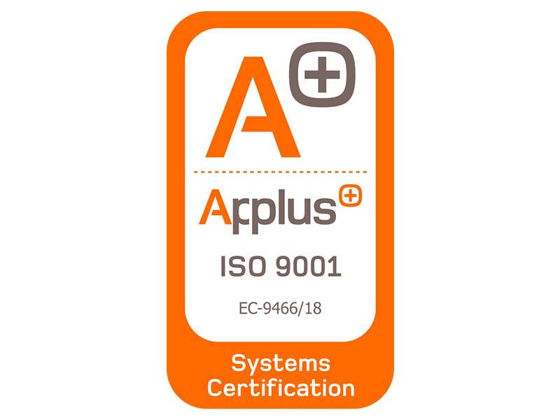 Laquant ha obtenido la certificación UNE-EN ISO 9001:2015, certificado por LGAI Technological Center, S.A. (Applus+)